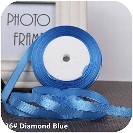 kawayi-桃 25ヤード/ロールグログランサテンリボン結婚式のクリスマスパーティーの装飾6mm-40mm DIY弓クラフトリボンカードギフト-Diamond Blue-10mm