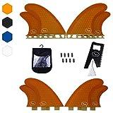 Quad Surfboard Fins (4 Fins) - Perfect Flex with Honeycomb (Orange, FCS)