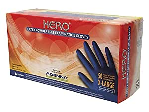 Adenna Hero Blue Latex Powder Free Exam Gloves Size Small 10 Box of 100