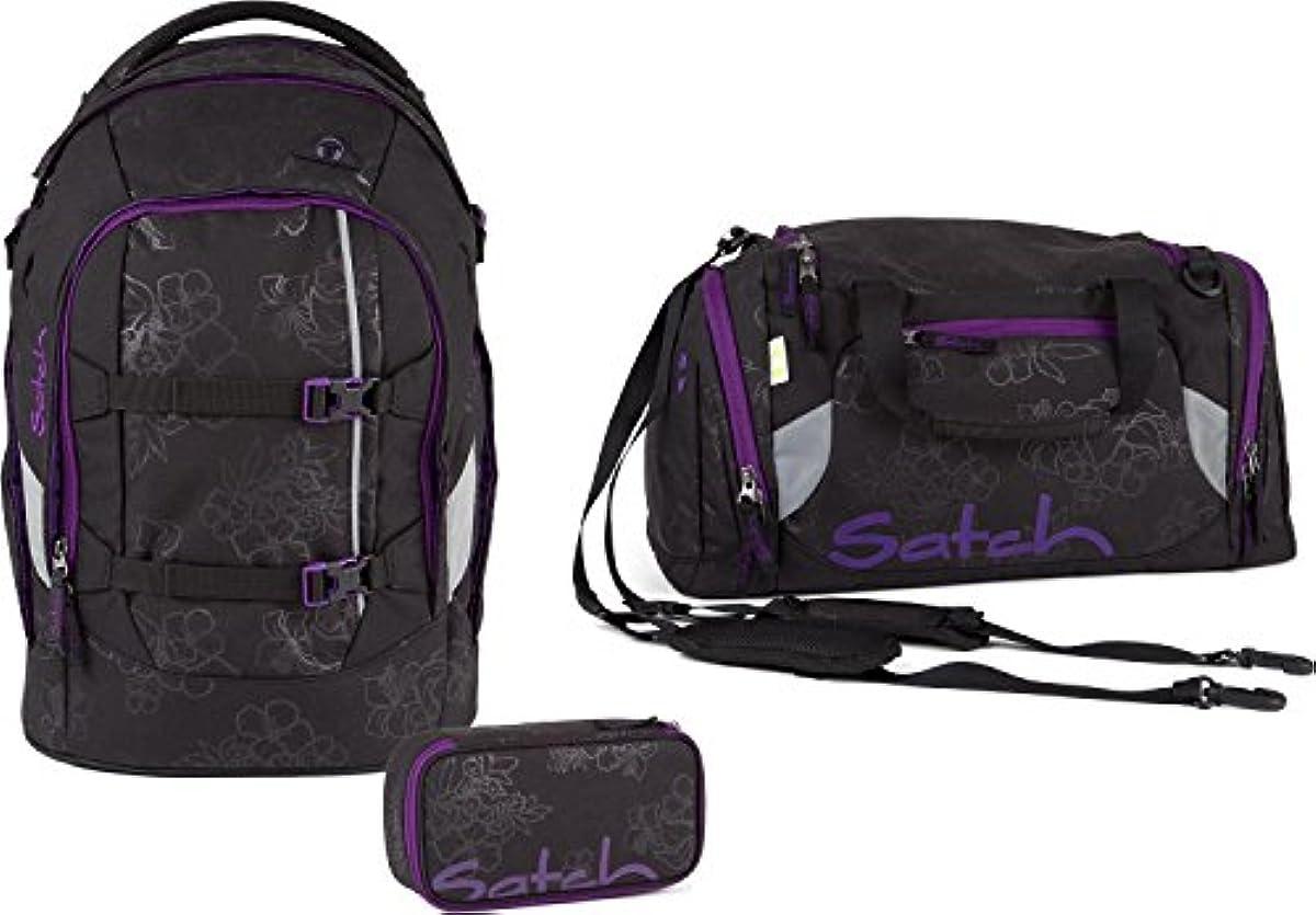 6089c223747fe Satch Schulrucksack-Set 3-TLG Pack Purple Hibiscus Schwarz