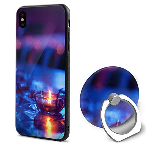 (iPhone X Case Candle with Ring Holder 360 Degree Rotating Stand Grip Mounts Slim Soft Protective Cover)