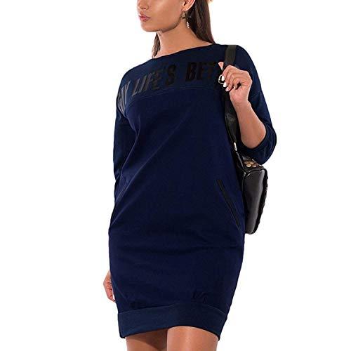 Shirt Con Dunkelblau Manica Modern Digitale Stile Camicia Moda Ragazza Chic Sweatshirts Giovane Tasche Vestiti Monocromo Lunga Rotondo Primaverile Sport Felpe Eleganti Collo Donna Casual Stampato x1wCWnq0SH