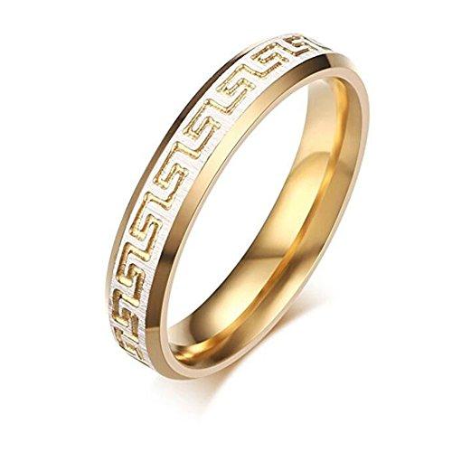 Titanium Greek Key Ring - 8