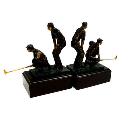 Bey-Berk R18X Cast Metal Double Golfers Bookends with Bronzed Finish on Brown Wood Base,