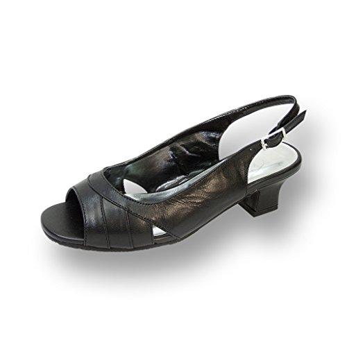FIC PEERAGE Karen Women Extra Wide Width Heeled Sandal BLACK 8.5