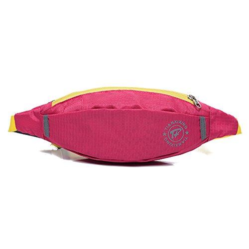 e-jiaen bolsa de cintura impermeable resistente al agua reflectante rayas riñonera/Hip pack riñonera bolsa para hombre Mujer Deportes Viaje Senderismo/dinero iphone 6/76s/7S Plus Samsung S5S6, azul Rosa roja