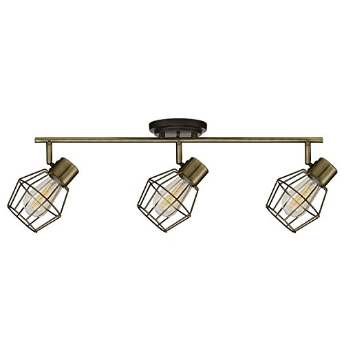 Globe Electric Jax 3-Light Track Light, Antique Pewter Finish, Bulbs Included, 59193 (Pewter Antique Lighting)