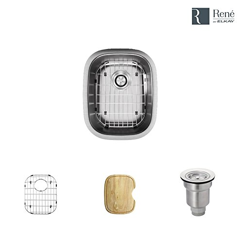 (R1-1014-16 Stainless Steel Bar Sink in 16-Gauge with Cutting Board, Grid, and Basket Strainer)
