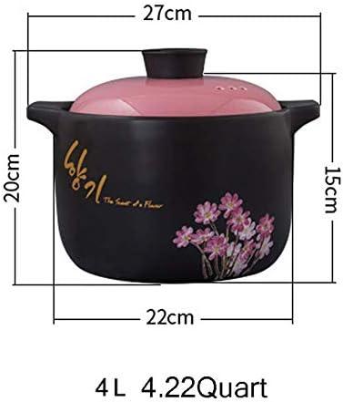AGGF Bibimbap Coréen Cocotte avec couvercle en céramique avec motif de fleur résistant à la chaleur en terre et ustensiles de cuisine sains Noir 4,23 litres