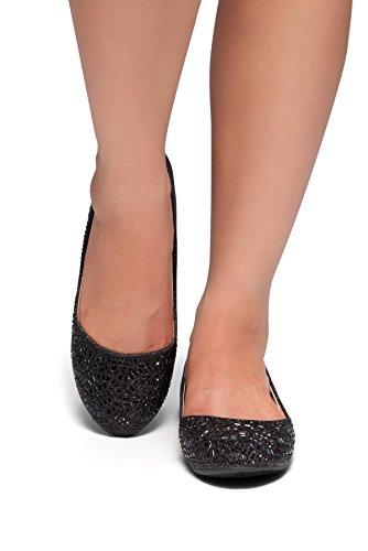 Herstyle Vrouwen Vicky Ronde Neus Juwelen Versieringen Strass Ballet Flats Schoenen Zwart