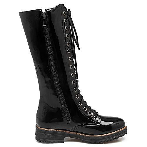 Mid Zip Black Shoes Fashion Coolcept Calf Women Boots 1wXxvEvq60