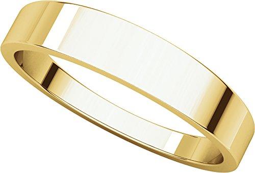 Mens 18K Yellow Gold, Flat Tapered Wedding Band 4MM (sz 9.5)