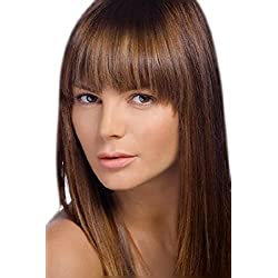 One Piece Clip In Fringe Bangs Hairpiece Light To Medium Brown Very Real Look Synthetic