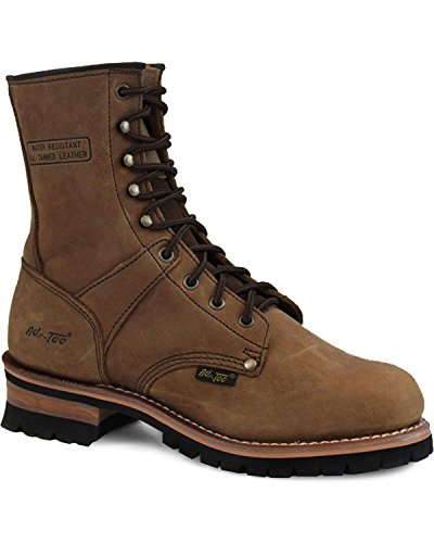 AdTec 9' Super Logger Soft Toe Boots for Men, Rugged Leather Goodyear Welt Construction, Brown, 12 M US
