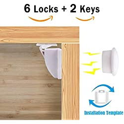 Child Magnetic Cupboard Locks - Edealing Baby Safety Lock Set for Cabinets and Drawers - No Drilling & Screws - Extra Template for Easy Installation - BONUS English Manual (6 Locks + 2 Keys)