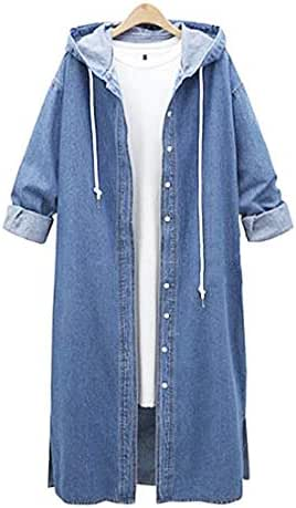 NOMUSING Overcoat for Women Casual Hooded Sweatshirt Jumper Long Sleeve Denim Jacket Long Jean Coat Outwear Overcoat