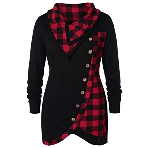 Women Long Sleeve Tops,Cinsanong Sale! Skew Button Cowl Neck Sweatshirt Plaid Drawstring Tunic Loose Blouse