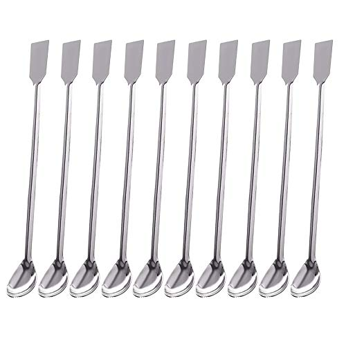 Lab Spoon Spatula 2 in 1 Laboratory Sampling Spoon Mixing Spatula Stainless  Steel 20 cm (10PCS)