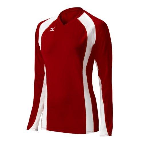 Mizuno Women's Volleyball Techno Volley V Long Sleeve Jersey, Red/White, Medium
