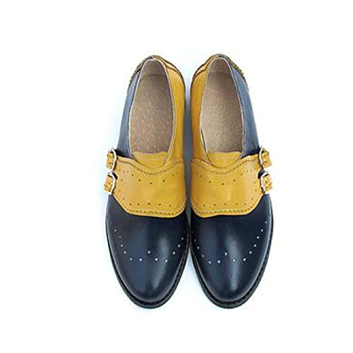 Women's Fashion Perforated Buckle Two Tone Flat Oxfords Brogue Wingtip Slip-on Round Toe Shoes Blue and Yellow