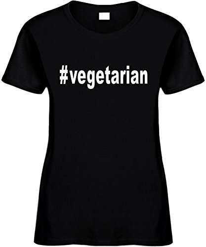 Women's Size M Funny T-Shirt (#vegetarian (Hashtag Tee Shirt) No Meat) Ladies (Vegetarian Merchandise compare prices)