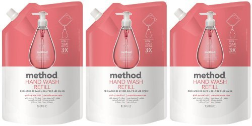 Method Gel Hand Wash Refill Pouch, Pink Grapefruit, 34oz, 3pk ()