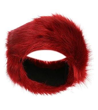 721a156ae8b Womens Faux Fox Fur Winter Ski Russian Headband hat (Red)  Amazon.co.uk   Clothing