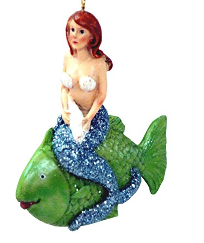 Mermaid Holding a Shell Sitting on a Fish Christmas Ornament