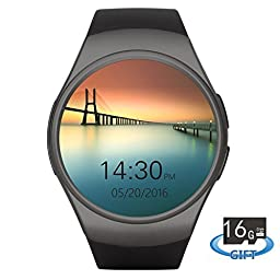 Smartlife Bluetooth Wrist Smart Watches with Camera Heart Rate Support SIM TF Card for IOS iPhone Android Samsung Sony LG Smart Phones (Black)