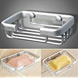Yo India Metal Brass Space Wall Soap Holder Bathroom Shower Cup Dish Basket Tray Container (Silver)