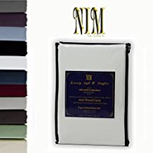 NIM Textile Luxury 1600 TC Softness Deep Pocket 3pc Fitted Sheet Sets - 1 Fitted Sheet and 2 Pillowcases - MILANO Collection - Light Gray, Queen