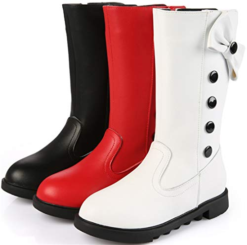 PPXID Girl's Waterproof Leather Bowknot Side Zip Knee High Riding Boots