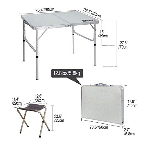 Table & Chair Sets Folding Camping Table with Chairs Adjustable Portable Picnic BBQ Table Medium with 2 Stools by R-camp (Image #1)