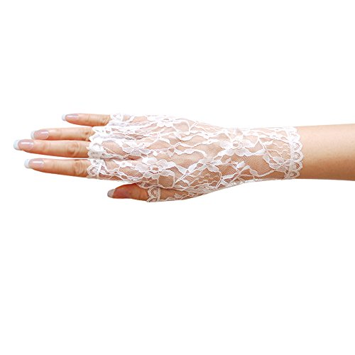 ZaZa  (White Lace Fingerless Gloves)
