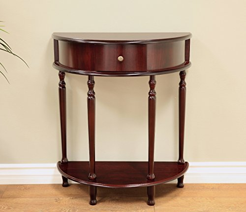 Frenchi Home Furnishing End Table/Side Table, Espresso (Half Moon Wood Table)