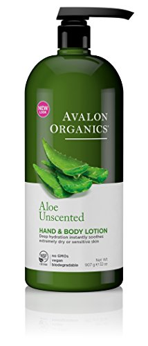 Hand & Body Lotion - Unscented Aloe Avalon Organics 32 oz Lo