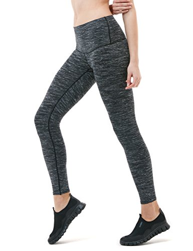 TSLA Yoga Pants Mid-Waist/High-Waist Tummy Control w Pocket Series, Yogabasic Thick Contour(fyp52) - Charcoal, Small (Size 6-8_Hip37-39 Inch)