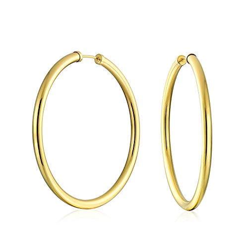 Minimalist Round Endless Continuous Thin Tube 10K Yellow Gold Filled Hoop Earrings For Women Shinny Finish 2 Inch Dia - Earrings 10k Hoop Yellow Gold