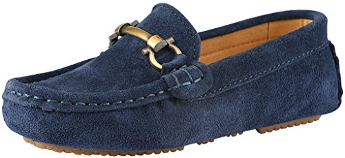 SKOEX Boy's Suede Loafers Slip On Boat Shoes US Size 1.5 Blue(Suede) (Suede Deck Shoes)