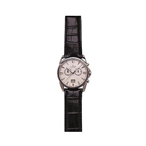 Charmex Geneva 2665 42mm Stainless Steel Case Black Calfskin Synthetic Sapphire Men's Watch