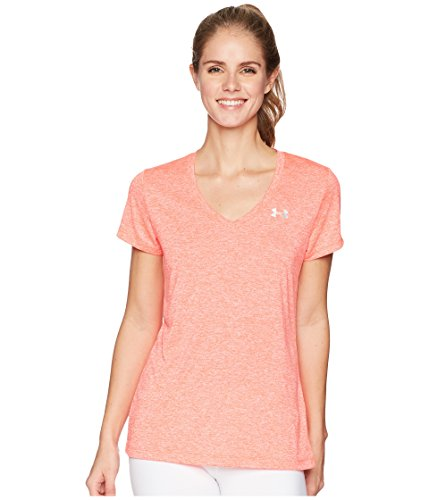 Under Armour Women's UA Tech¿ Twist V-Neck Neon Coral/Metallic Silver Small by Under Armour (Image #5)