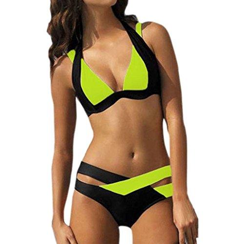 Covermason Push up Bikini Damen, Badebekleidung Badeanzug Beachwear Bikini-Sets Grün