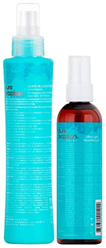PURE BRAZILIAN Leave-in Conditioner & Ultra-Light Nourishing Oil - The Perfect Combo to Strengthen And Protect Your Hair (6.78 Ounce / 200 Milliliter) by Pure Brazilian (Image #1)