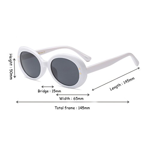Blanco Vintage Sunglasses Round Lens Retro Gris Eyewear Yefree Oval Frame Unisex Oversized Mode IX7xZRwp