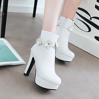 Women's Shoes PU Leatherette Fall Winter Comfort Novelty Fashion Boots Boots Chunky Heel Round Toe Booties/Ankle Boots Flower For Party & Black C8Lpy