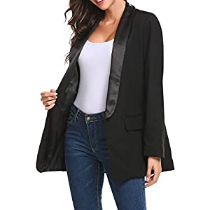 Zeagoo Women Casual Open Front Solid Boyfriend Loose Blazer Jacket Suit Coat - Black/S-XXL