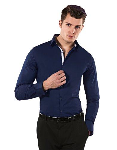 Vincenzo Boretti Men's Shirt Body Fit (stretch, special,darkblue/white,17.5