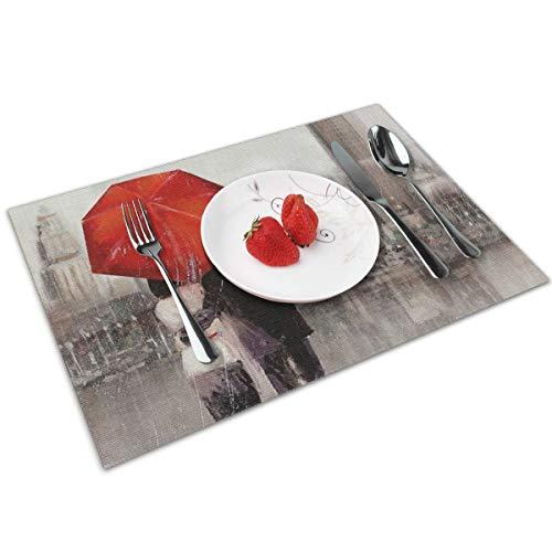 Candy Ran Modern Couple in London Indoor/Outdoor Placemats/Place Mats/Table Mats Set of 4, Kitchen Tablemats for Dining Table, Non-Slip Washable Heat Resistant