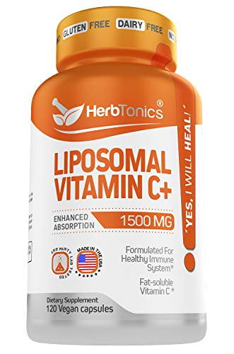 High Strength Liposomal Vitamin C 1500mg - Immune Support & Immune System Health Booster High Absorption Vitamin C and Collagen Booster Supplement - 120 Vegan Capsules Non-GMO, Made in The USA