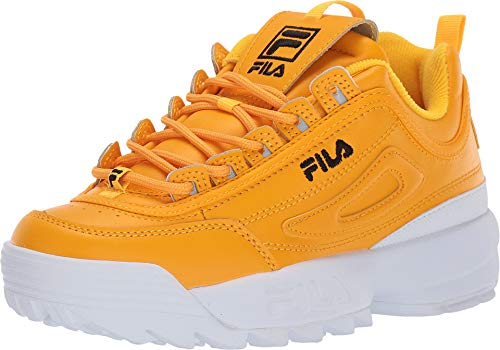 Fila Women's Disruptor II Premium Sneakers, Gold Fusion/Black/White, 8.5 M US